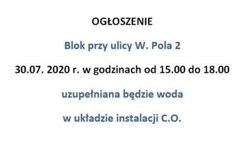 W. Pola 2 – uzupełnianie wody w układzie instalacji centralnego   ogrzewania